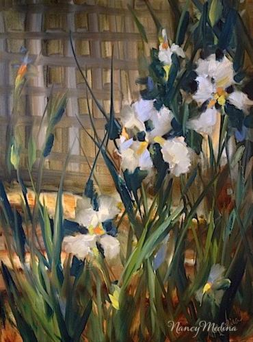 """Butterfly Iris Garden by Texas Flower Artist Nancy Medina"" original fine art by Nancy Medina"