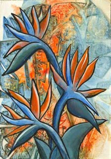 """Blue Strelitzia Reginae"" original fine art by Kara Butler English"
