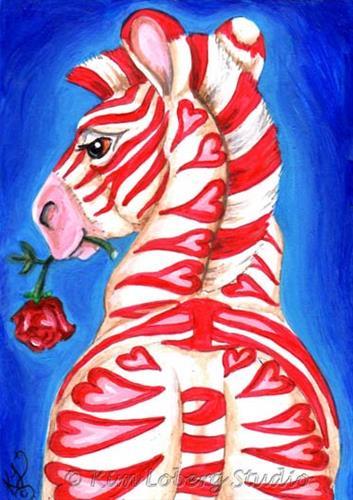 """Amour de Zèbre (Zebra Love)"" original fine art by Kim Loberg"