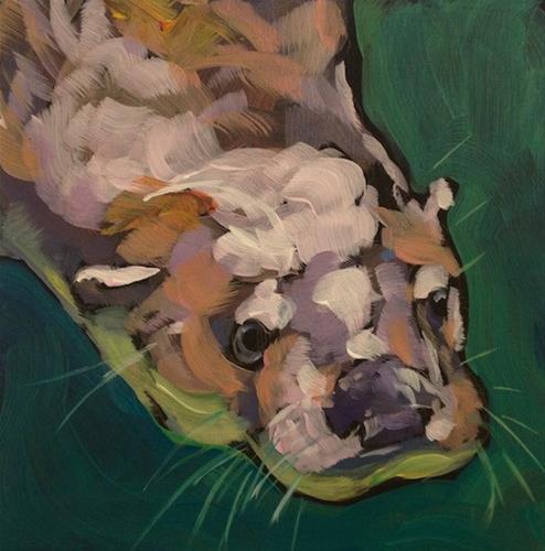 """Diving Face, Right"" original fine art by Kat Corrigan"
