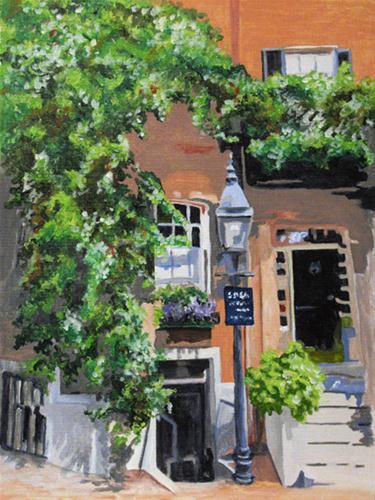 """""""Louisburg Square in Boston"""" original fine art by Nan Johnson"""
