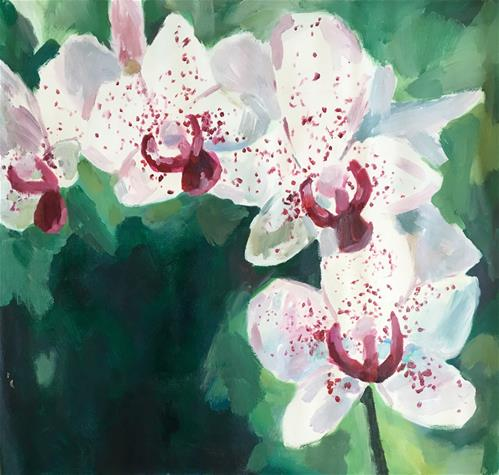 """""""White and Pink Orchids"""" original fine art by Nava Judith"""