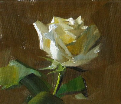 """""""White Rose --- Sold"""" original fine art by Qiang Huang"""
