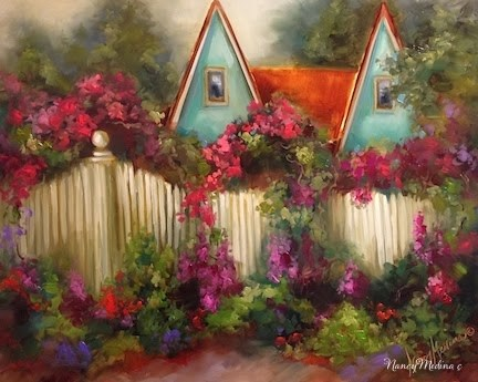 """Coronado Island Cottage Rose Arbor Painting by Nancy Medina"" original fine art by Nancy Medina"