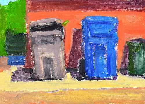 """Trash Cans in the Alley"" original fine art by Kevin Inman"