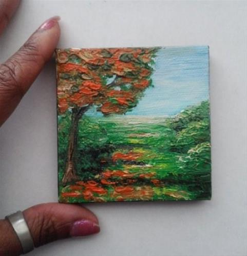 """Mini Oil Painting Landscape Orange Tree"" original fine art by Camille Morgan"