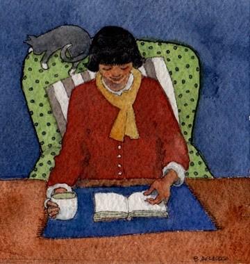 """""""Watercolor: Books and Coffee"""" original fine art by Belinda Del Pesco"""