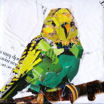 """""""Green Parakeet, 4x4 Collage"""" original fine art by Carmen Beecher"""