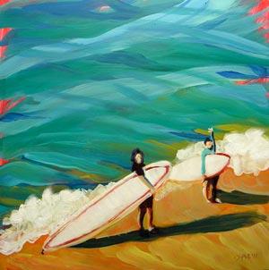 """""""Heidrich Girls Surfing"""" original fine art by Pam Van Londen"""
