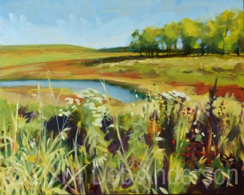 """Oil Painting: Techny Basin Reservoir"" original fine art by Deb Anderson"