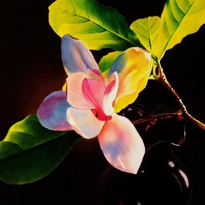 """Magnolia & Vase"" original fine art by Jacqueline Gnott, TWSA, WHS"