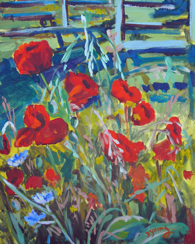 """Country Poppies"" original fine art by Darlene Young"