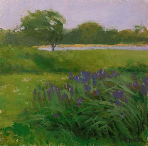 """Landscape with iris"" original fine art by Kathy Weber"
