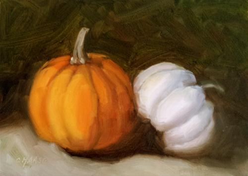 """Mini Orange and White"" original fine art by Cindy Haase"