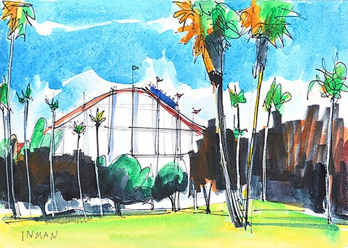 """Mission Beach Roller Coaster"" original fine art by Kevin Inman"