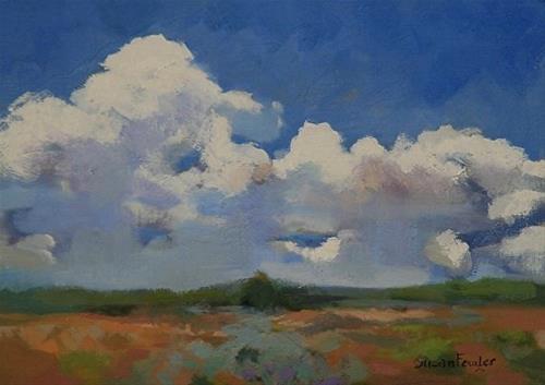 """""""Landscape, Sky Clouds Oil Painting Summer Cumulous by Colorado Landscape Artist Susan Fowler"""" original fine art by Susan Fowler"""