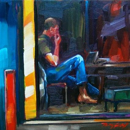 """Im Cafe"" original fine art by Jurij Frey"