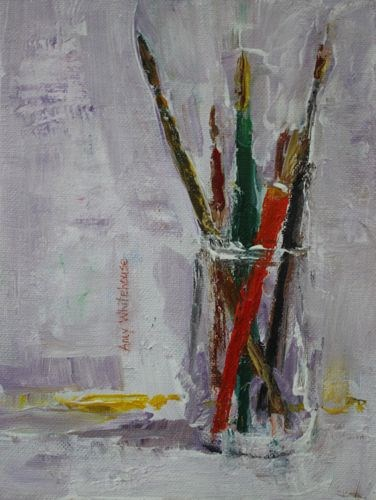"""""""Paintbrushes, Contemporary Still Life Paintings by Amy Whitehouse"""" original fine art by Amy Whitehouse"""