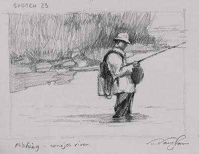 """Fishing_Colorado, fishing, sketch"" original fine art by V.... Vaughan"