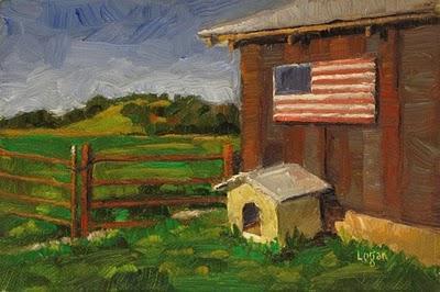 """Barn with Cathouse and Flag"" original fine art by Raymond Logan"