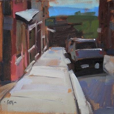 """Jerome Sidewalk"" original fine art by Carol Marine"