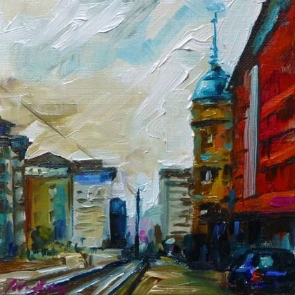 """Stuttgart, Schloßstraße"" original fine art by Jurij Frey"