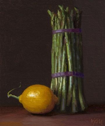 """Still Life with Asparagus and Lemon"" original fine art by Abbey Ryan"