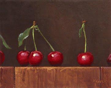"""Row of Cherries No. 2"" original fine art by Abbey Ryan"