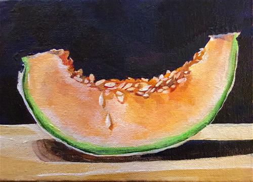 """Cantaloupe Still Life"" original fine art by Lauren Kuhn"