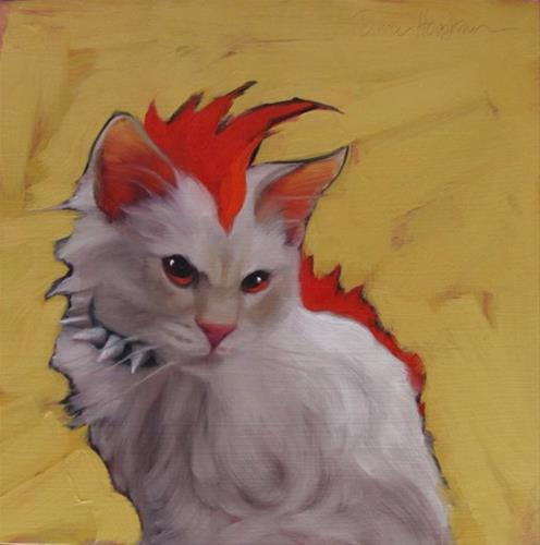"""Domestic Punk, character cat no. 1"" original fine art by Diane Hoeptner"