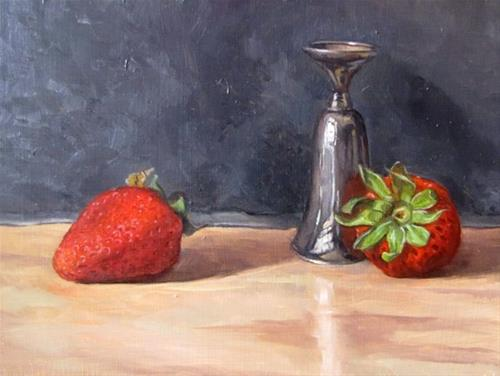 """""""36 - Shot glass and Strawberries"""" original fine art by Edward Watson"""