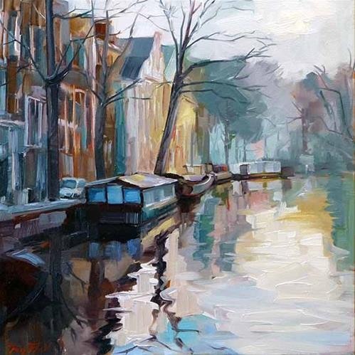 """""""Die Grachten von Amsterdam"""" original fine art by Jurij Frey"""