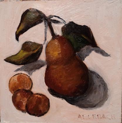 """Pennies and Pear"" original fine art by Jo Allebach"