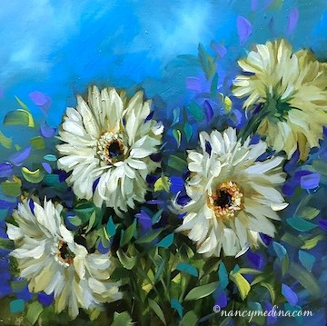 """""""Waiting for JC Penney to Call - Blue Breeze Daisies - Flower Painting Workshops and Classes by Nancy"""" original fine art by Nancy Medina"""