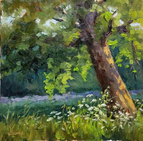 """Leanin tree and lace-en plein air"" original fine art by Veronica Brown"