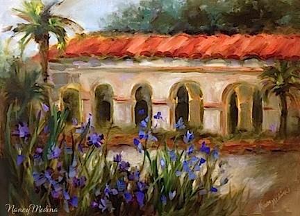 """Blue Iris Balboa Sunset by Texas Flower Artist Nancy Medina"" original fine art by Nancy Medina"