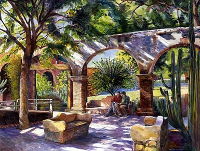 """""""Watercolor: Reading at the Mission (& why artists should use social media)"""" original fine art by Belinda Del Pesco"""