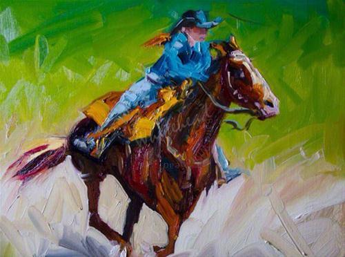 """ARTOUTWEST DIANE WHITEHEAD She is Winning Rodeo Cowgirl art Oil Painting"" original fine art by Diane Whitehead"