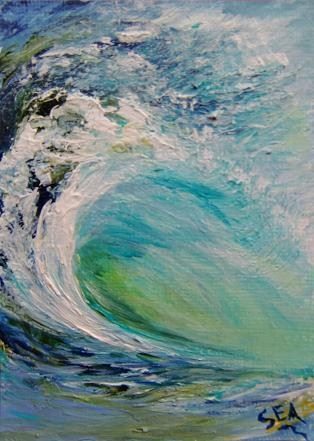 """3016 - SEA FOAM - ACEO Series"" original fine art by Sea Dean"