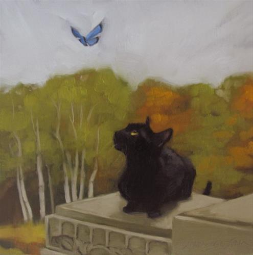 """Estate Cat & Can you tell that's a gravestone?"" original fine art by Diane Hoeptner"