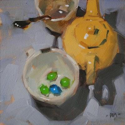 """Tea with M&M's"" original fine art by Carol Marine"