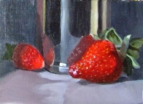 """""""11- Two Strawberries and a Silver Cup"""" original fine art by Edward Watson"""