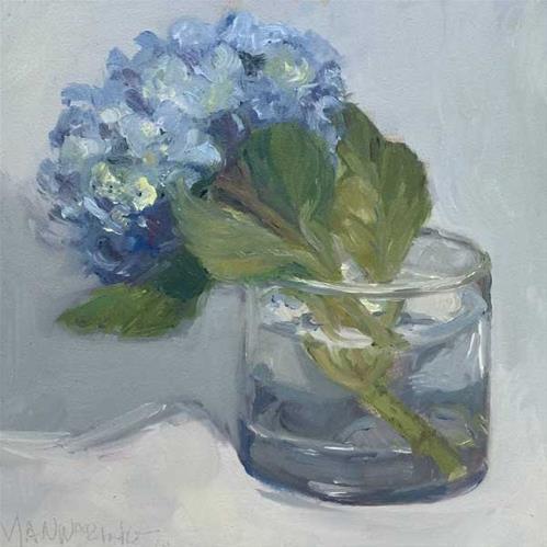 """A glass of Hydrangeas"" original fine art by Merle Manwaring"