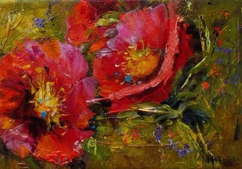 """Red Posies"" original fine art by Alice Harpel"