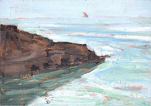 """""""Haze Again, Ocean Beach"""" original fine art by Kevin Inman"""