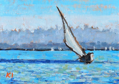 """""""San Diego Sailboat Painting"""" original fine art by Kevin Inman"""