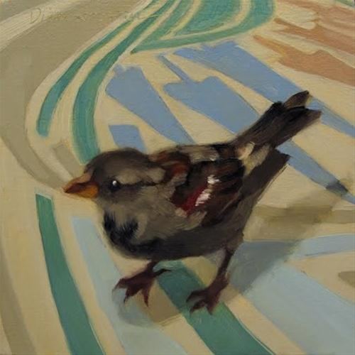 """Directions small sparrow bird painting"" original fine art by Diane Hoeptner"