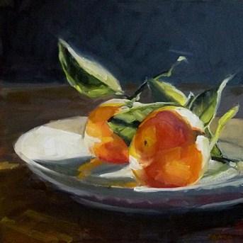"""Oil Painting of Backlit Mandarins"" original fine art by Deb Anderson"