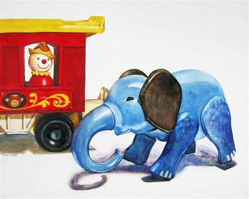 """""""Circus Elephant"""" original fine art by Kara K. Bigda"""