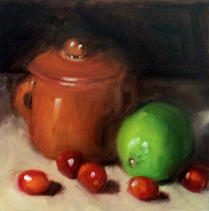 """Lime and Cranberries"" original fine art by Cindy Haase"